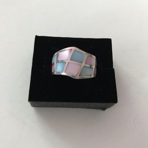 Sterling silver Mother of pearl inlay ring